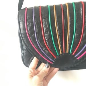 Vintage Bags - 1980s Leather Purse Rainbow Stripe Black Bag